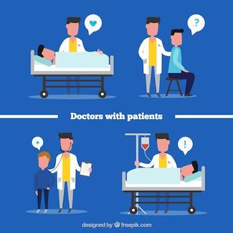 Platte verzameling van artsen met patiënten
