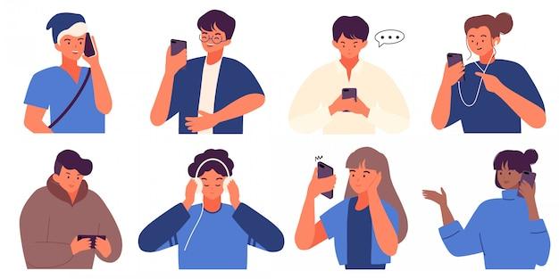 Platte verzameling van duizendjarige mensen met smartphone
