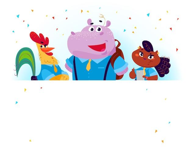 Platte verzameling van gelukkige dierenstudenten die achter banner staan. terug naar school illustratie