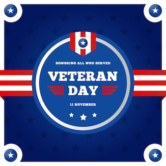 Platte veteranendag met amerikaans vlaglogo