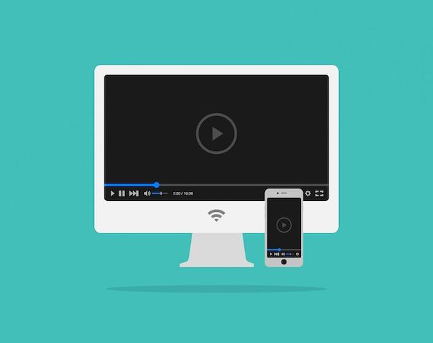 Platte videospelersjabloon voor web en mobiele apps op computer en smartphone