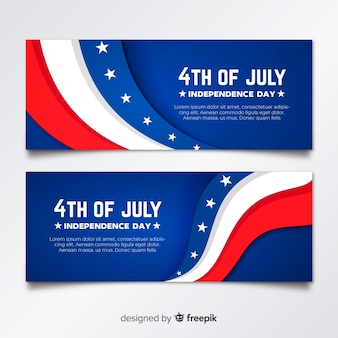Platte vierde van juli banners