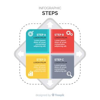 Platte vierkanten infographic stappen