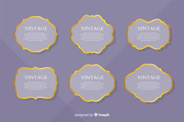 Platte vintage gouden frame-collectie