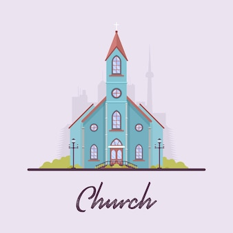 Platte vintage kerk in de stad