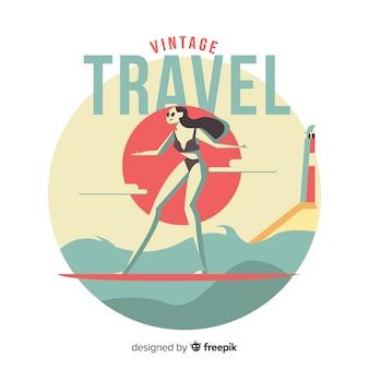 Platte vintage reislogo