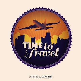 Platte vintage reizen label achtergrond