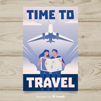 Platte vintage reizen poster met vliegtuig