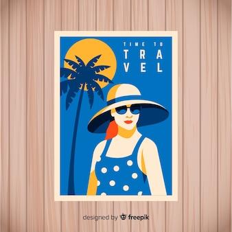 Platte vintage reizen poster sjabloon