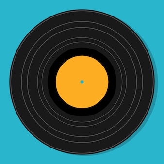 Platte vintage vinyl plaat geïsoleerde vectorillustratie. retro abstracte ontwerpsjabloon. feestaffiche.