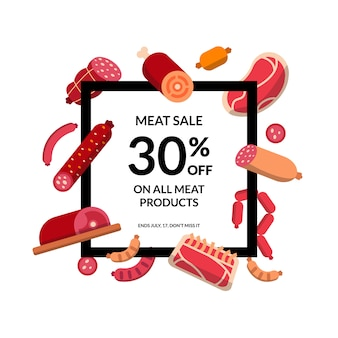 Platte vlees en worst frame geïsoleerd