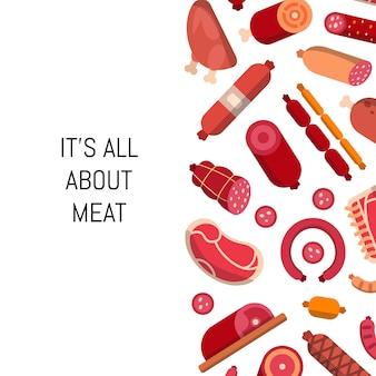 Platte vlees en worst pictogrammen