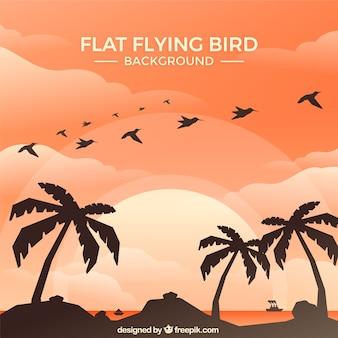 Platte vliegende vogel achtergrond