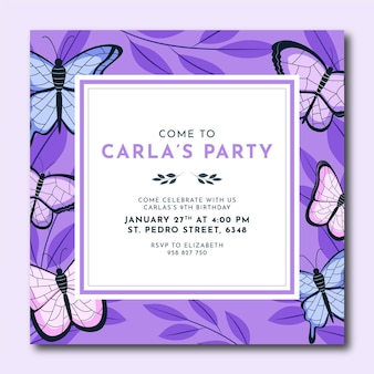 Platte vlinder verjaardag uitnodiging sjabloon