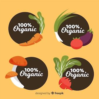 Platte voedsel biologische labels