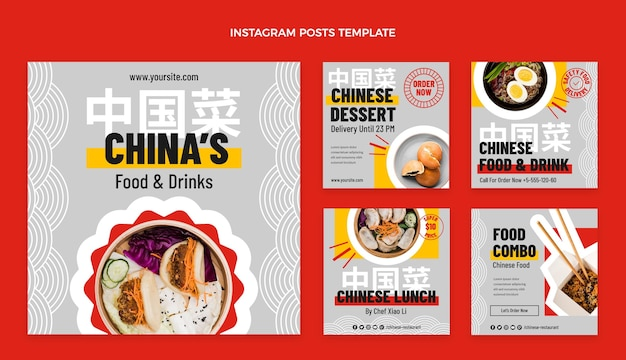 Platte voedsel instagram-post