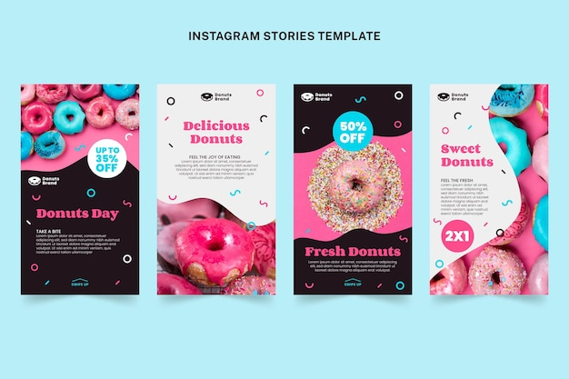 Platte voedsel instagram verhalen sjabloon
