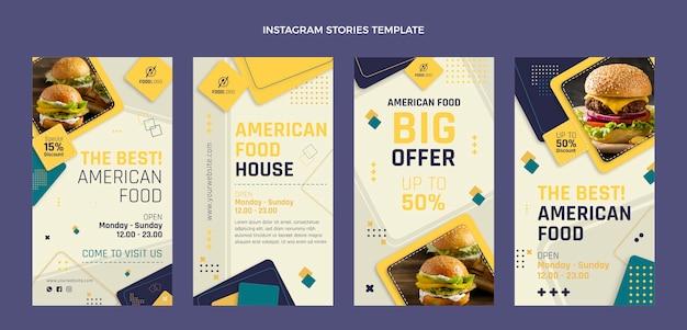 Platte voedsel instagram-verhalen