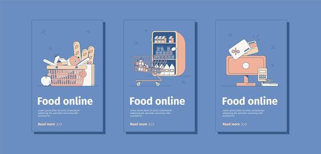 Platte voedsel online banners set