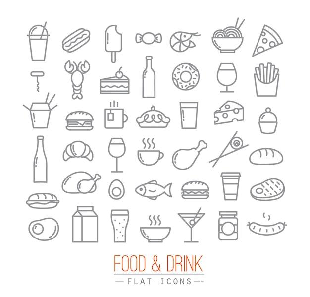 Platte voedsel pictogrammen