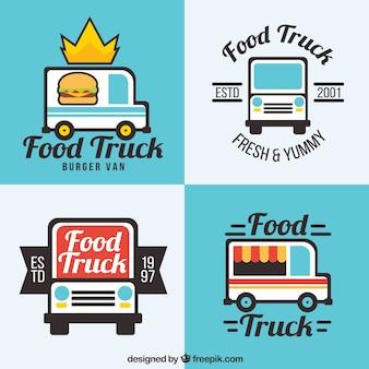 Platte voedsel truck logo's met leuke stijl