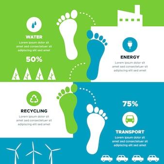 Platte voetafdruk infographics concept