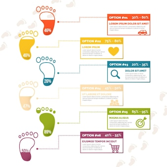 Platte voetafdruk infographics