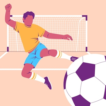 Platte voetballer illustratie