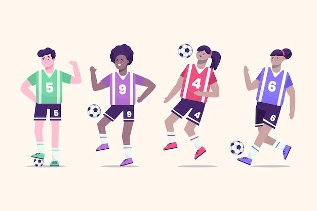 Platte voetballers groep Premium Vector