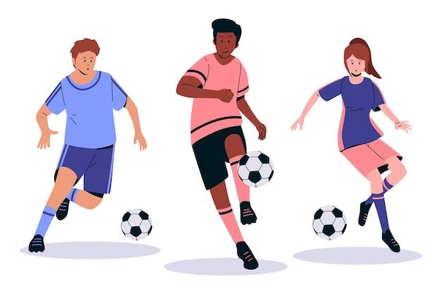 Platte voetballers illustratie