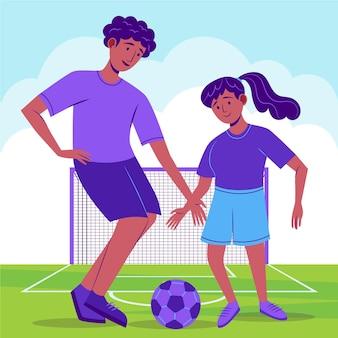 Platte voetballers trainen op het veld