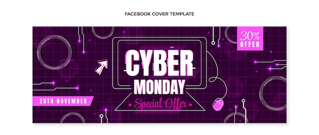 Platte voorbladsjabloon voor cyber maandag voor sociale media