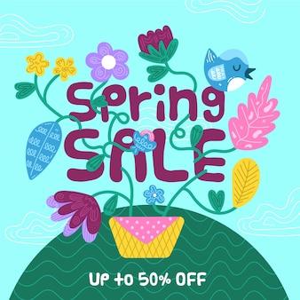 Platte voorjaarsverkoop met kleurrijke bloemen en speciale aanbieding