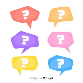 Platte vraagteken in tekstballon ingesteld
