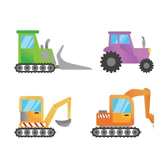 Platte vrachtwagen graafmachine illustratie