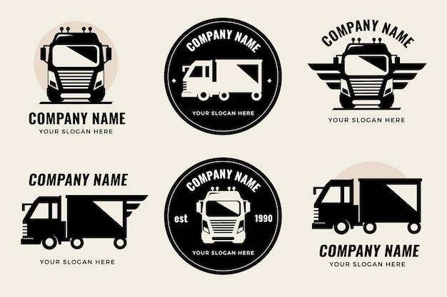 Platte vrachtwagen logo sjabloonverzameling