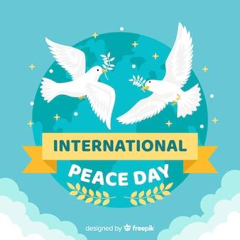 Platte vredesdag achtergrond met duif