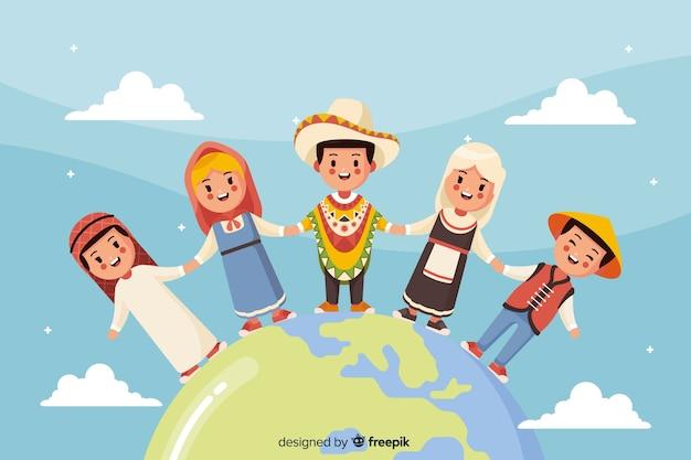 Platte vredesdag achtergrond met kinderen