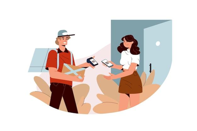 Platte vrouw betalingen contactloos met smartphone, qr-code scannen