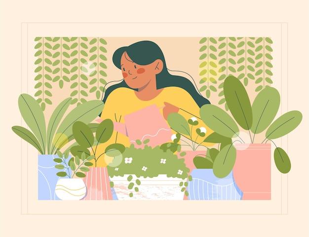 Platte vrouw die voor planten binnenshuis zorgt