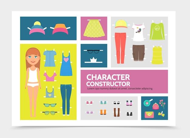 Platte vrouw teken constructor infographic sjabloon met hoed, pet, jurken, broek, overhemd, rok