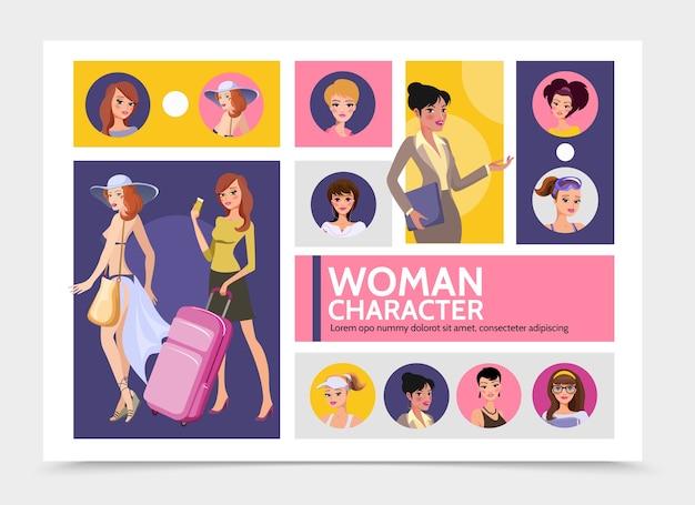 Platte vrouw tekens avatars infographic sjabloon met reizende meisjes sportvrouwen