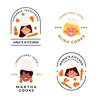 Platte vrouwelijke chef-kok logo collectie
