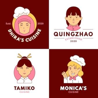 Platte vrouwelijke chef-kok logo sjablonen