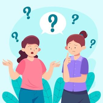 Platte vrouwen die vragen stellen