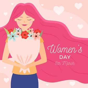Platte vrouwendag met vrouw die een boeket houdt