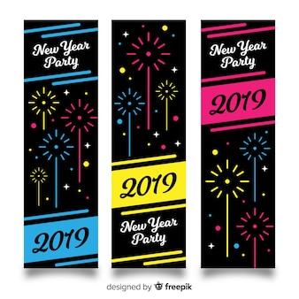 Platte vuurwerk nieuwe jaar banner