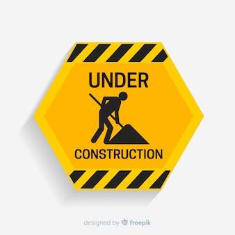 Platte waarschuwingsbord bouw achtergrond