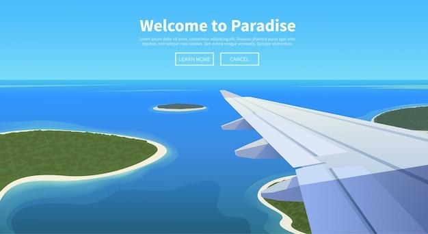 Platte webbanner. reis per vliegtuig.