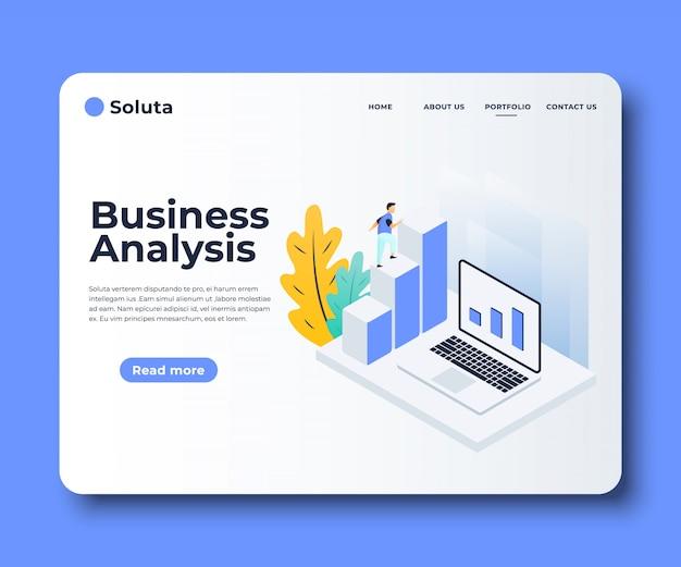 Platte webpagina sjablonen van marktanalyse, zakelijke oplossing